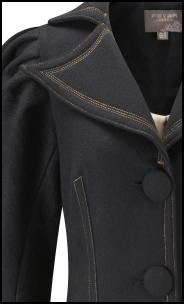Fever Boleyn Coat Collar Topstitch Detail.