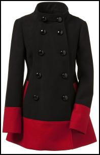 Colour Block Black & Red Hem Coat.