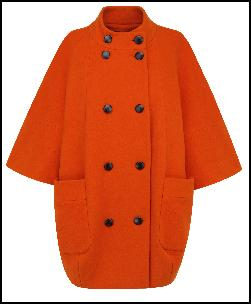 Bright Orange Cocoon Cape Coat