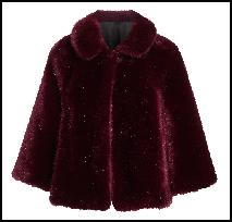 Burgundy Fur Coat Cape.