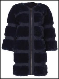 Purple Collarless Fur Cocoon Coat.