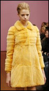 Philosophy Yellow Fur Mini Coat.