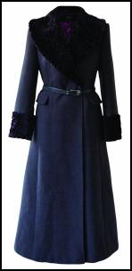 Blue Faux Fur Collar Maxi Coat