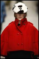 Burberry British Wool Red Cape Coat.