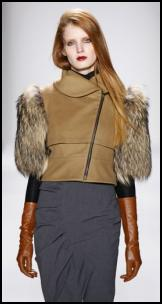 Cynthia Steffe Fur Sleeve Leather Cropped Zipper Jacket.
