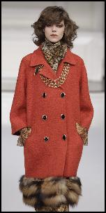 Peach Coat With Fur Hem