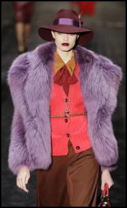 Gucci Purple  Fur Jacket and Fedora Hat.