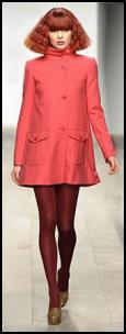 A-line Sixties Style Coral Red Mini Coat.