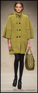 Burberry Green Wool Cape Coat.