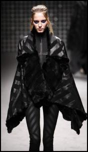 Black Leather Banded Cape Gareth Pugh AW11.