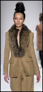 Camel Trouser Suit Fur Shawl Collar.