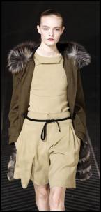 Olive Parka Coat and Shorts Outfit - Roland Mouret