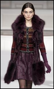 Aubergine Fur Trim Knee Length Gilet Coat.