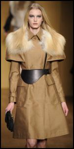 Camel Trench Coat Golden Fox Fur Collar.