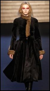 Fitted Waist Fur Coat.
