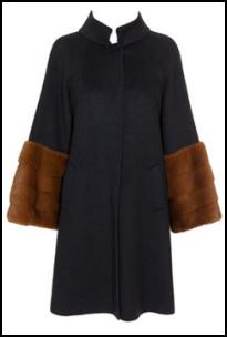 Fend Navy Cashmere Coat With Mink Fur Cuffs