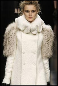 Winter White Coat Fur Upper Sleeves