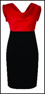 Colour Block Red Black Dress.