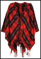 Fringe Red Check Cape