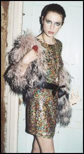 Topshop Sequin Dress & Fur Coat.