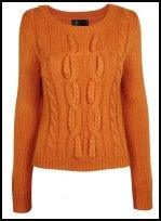 Rich Egg Yolk Orange Cable Sweater.