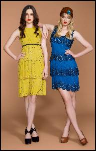 Yellow and Blue Beaded Dresses - Retro Style Shifts.