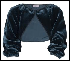 Monsoon Teal Velvet Cropped Shrug Jacket.