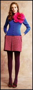 Colour Block -  Mixing Fashion Colours. Pink Corsage & Cobalt Cardigan.