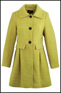 Matalan AW11 - Women's 70's Lime Green Single Breasted Tulip Coat.