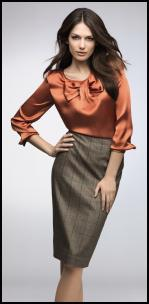 Elégance Burnt Orange Silk Blouse, Glencheck Pencil Skirt.