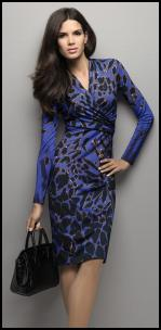 Elegance - Blue/ Black Animal Print Dress.