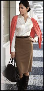 Coral Cardigan, White Silk Blouse, Camel Pencil Skirt.
