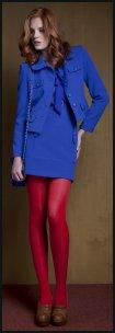 Penneys Royal Blue Outfit Colour Blocked With Rich Red Tights.