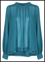 Teal Blue High Neck Blouse - NEXT.
