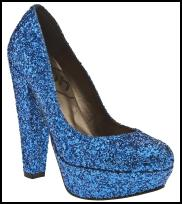 Blue Glitter Platform High Heel Shoes.
