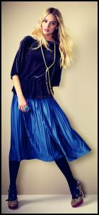 Marissa Blue Pleated Midi Skirt.