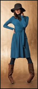 La Redoute Wrapover Teal Blue Dress, Floppy Wool Felt Hat, Camel Boots.