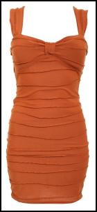 Orange Rust Body Con Wrap Effect Slinky Ripple Dress .