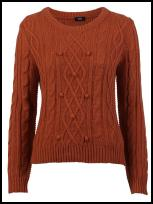 Burnt Orange Aran Cable Knit Jumper.