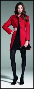 Matalan Red Coat & Black Tights.