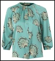 Light Teal Blue Fan Printed Satin Blouse.