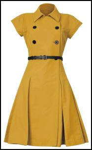 Debenhams AW11 Yellow Dress With Black Button/Belt Trim.