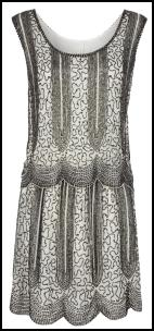 Next Black White Beaded  Party Dress - Twenties Dropped Waist Fashion.
