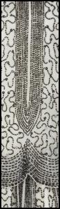 Beading Detail - Black Beads On White.