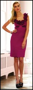 Magenta Pink Dress From Bonmarch� Features Rose Flower Neckline.