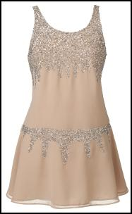 Flesh Peach  Drop Waist Sequin Dress.