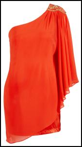 Lipsy - Hot Tangerine Party Sequin One Shoulder Chiffon Sleeve Dress.