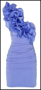 Blue One Shoulder Ruffle Dress.
