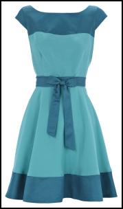 Oasis AW11 - Pretty Two Tone Teal Blue Colour Block Dress.