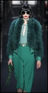 Sea Green Teal Short Cocoon Fur Jacket.